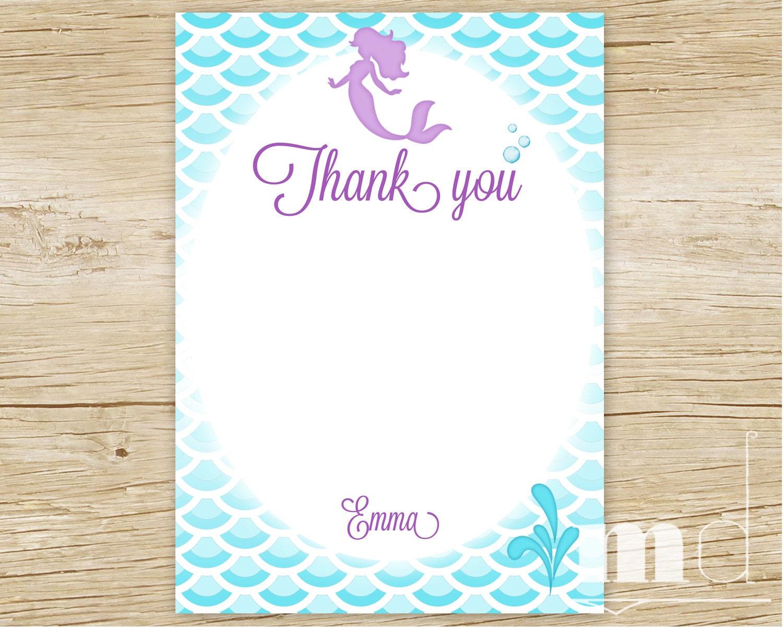 Mermaid Birthday Party Thank You Card Little Mermaid