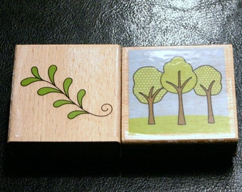 NEW Set of Trees Nature Rubber Stamps
