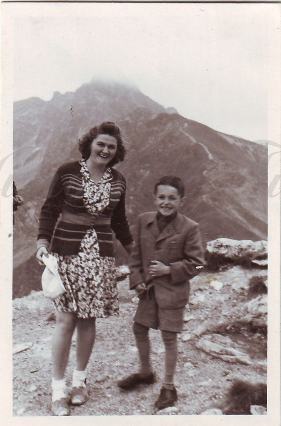 Vintage Photo Mom And Son Family In The Mountains Vintage-8606