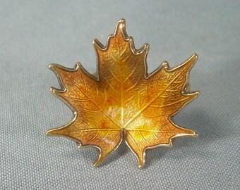 NORWEGIAN HROAR PRYDZ Leaf Pin Brooch-Vintage Guilloche-Gold On Sterling Silver-Brown Orange Enamel-Norway Hallmark-Small Dimensional-00409