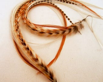 long Feather Earrings Ivory Dream  natural