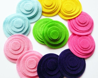 Felt Circles Shapes, felt die cut, set of 60 pieces