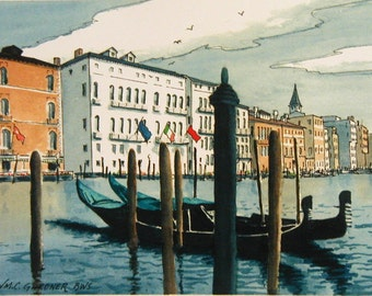 "Grand Canal - Venice, Italy  Watercolor Print Limited Edition 11"" x 14"", art, travel, Europe"