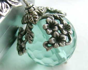 The World in Bloom - ceiling fan pull, home decor, aqua blue ball charm, antiqued silver floral, verdigris lighting, light pull chain, lamp