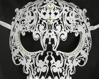 Skull Mens Masquerade Mardi Gras Metal Filigree Mask in White, Black, Silver, or Gold