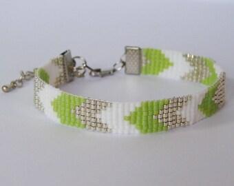 White spikes bracelet silver anise - Miyuki glass beads