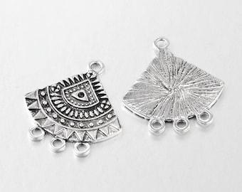 Breloque éventail,connecteur,Ethnique,métal argent,26x24 mm,lot de 10