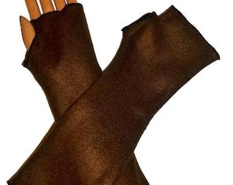 Arm Warmers, Fingerless Gloves Brown Fleece Wrist Hand Warmers, Gift For Her, Handmade Harry Potter, Halloween Christmas Gift Women Hanukkah