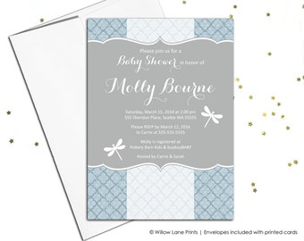 Modern baby shower invitations blue and gray | baby shower invites boy | printable or printed - WLP00768