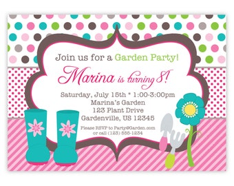 Garden Party Invitation - Pink Stripes and Polka Dots, Garden Boots and Shovel Personalized Birthday Party Invite - Digital Printable File