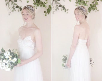 SALE - Ready to wear - Camille style cream tulle bridal gown with spaghetti straps, sz UK 10, tall