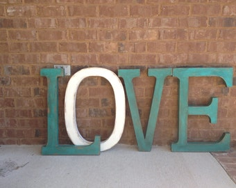 Painted Distressed Letters.  LOVE Typography Art