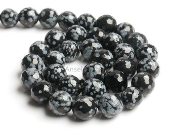 B420 Natural Snowflake Obsidian Beads,Faceted Beads,Full Strand 4 6 8 10 12 14mm Round Snowflake Obsidian Beads for DIY Jewelry Making
