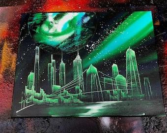 Aurora. Spray Paint Art.