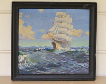 Nautical Oil Painting, Sailing Ship Painting, Ocean Painting