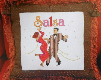 Marie Barber LATIN DANCE SALSA Pillow Counted Cross Stitch Pattern Chart - fam