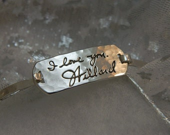 Personalized  Handwriting Bracelet  in Hammered Sterling Silver