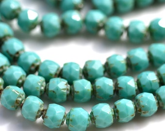 Turquoise Picasso 6mm Renaissance Fire Polish Round Czech Glass Beads   25