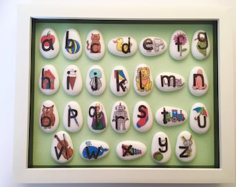 Alphabet, ABC, Wall Art, Picture, Nursery, Boys, Girls, Bedroom, Stone, Art, Frame, Framed, Unique, Letters, Baby, Gift, Shower, Ideas