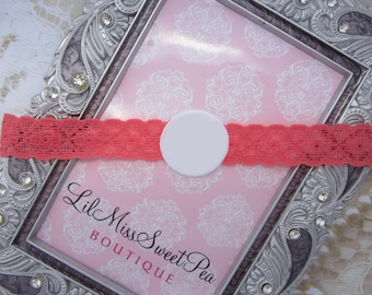 6 Ready Made LACE Headbands - choose from 9 colors and choose size, baby, toddler, teen, adult