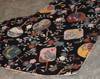 Black Floral Asian Fans Heart Shaped  18 X 16  Table Runner Topper
