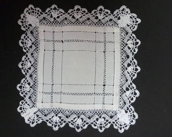 Antique wedding handkerchief Made in France bordered by hand