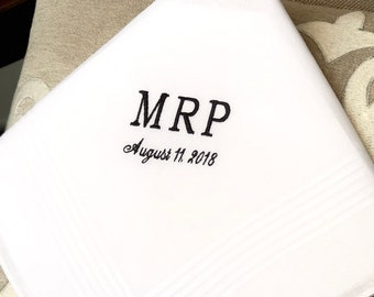Monogrammed Handkerhcief for the Groom  -  Wedding gift - Monogrammed Handkerchief for Bride - hanky - hankie