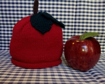 Apple fruit hat, knitted, for 0/6 months old baby