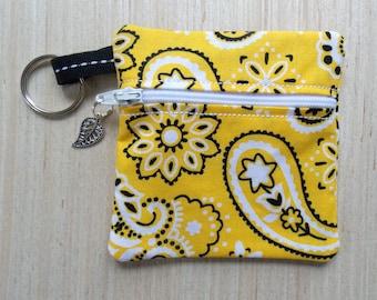 Yellow Bandana Ear Bud Case - Ear Bud Holder - Earphone Case - Bandana Coin Purse - Yellow Bandana Gift - Large Key Chain