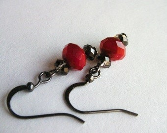 Red and Black Crystal Earrings - Beaded Facet Crystal Dangle Earrings, Red Crystal Earrings, Red Earrings, Red Dangle Earrings