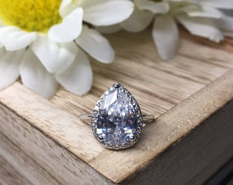 4 ctw Pear Cut Halo Engagement Ring, 3 Prong, Man Made Simulated Diamond, Wedding Ring, Sterling Silver, Tear Shape Ring, very beautiful