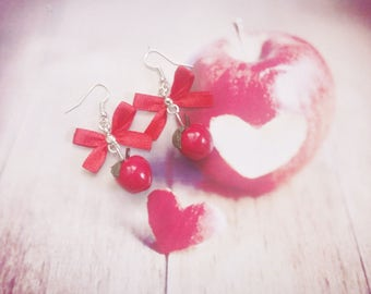 earrings red apple polymer clay