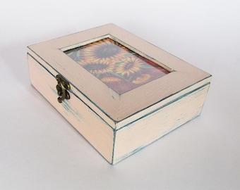 Wooden Jewelry Box Make Up Jewelry Storage For her Wooden Box Wooden keepsake box Shabby Chic style jewelry box Gifts box