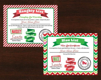 Nice and Naughty List Certificates