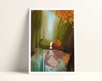 Illustrated postcard - 12, 7 x 17, 8 cm - the reflection of the Otter