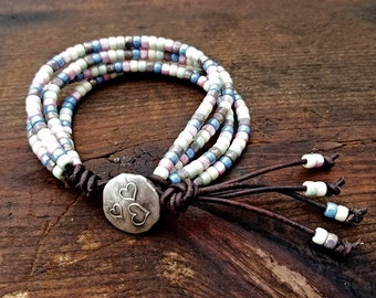 Seed Bead Leather Wrap Bracelet Beaded Leather Wrap Bracelet Womens Jewelry Bohemian Jewelry Boho Summertime Heart Button