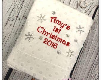 Personalised First Christmas Baby Blanket New Keesake Gift 1st Boys Girls
