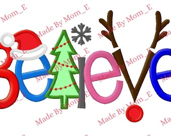 Believe Whimical Christmas Applique