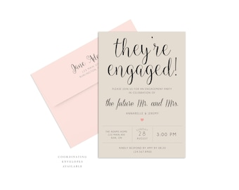 Printable Engagement Party Invitation, Engagement Celebration Invite, Theyre Engaged!