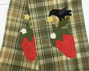 Primitive Crow and Strawberry Tea Towel!