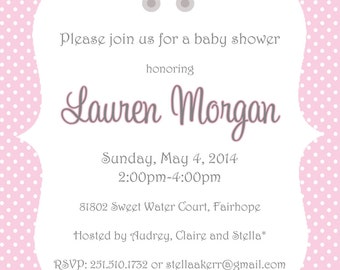 Pink Polka Dot with Baby Carriage Baby Shower Invitation
