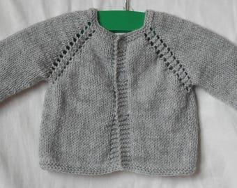 Handmade newborn retro gray wool jacket