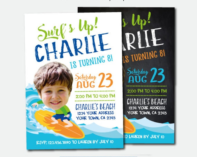 Surf Birthday Invitation, Beach Party, Tropical Birthday Invitation, Summer Party, Personalized Invites, 2 Options
