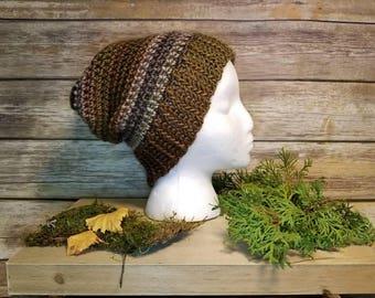 Striped Handmade Crochet beanie, crochet beanie, brown crochet hat, brown stripe hat, brown beanie, handmade hat