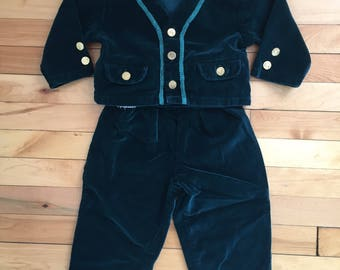 Vintage 1990s Baby Infant Boys Green Velvet Suspenders Pants Overalls Jacket Two Piece Outfit Set! Size 18 months