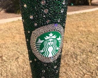 The Emerald City Inspired Starbucks Bling Cold Cup with Swarovski Elements