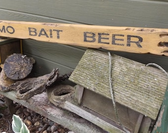 Rustic Man Cave Decor. Hunting Decor. Camp Sign. Wood Ammo Bait Beer Sign. Rustic Bait Sign. Distressed Bait Sign. Outdoor Decor. Wood Sign