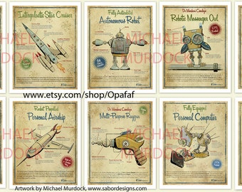 10-pack Large Retro Art Prints - 13x19 - vintage style