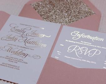 Wedding invitation etsy blush pink and gold foil pocketfold wedding invitations with blush envelopes and gold glitter lining junglespirit Choice Image