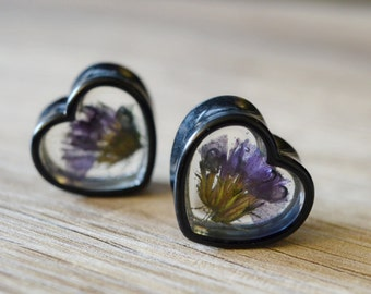 heart plugs flowers gauge flower plugs wedding gauges floral plugs real flower plugs flower tunnels 0g 00g 1/2 9/16 5/8 11/16 13/16 7/8 1in